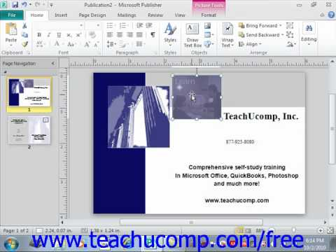 Publisher 2010 Tutorial Moving, Resizing and Rotating Objects Microsoft Training Lesson 3.5