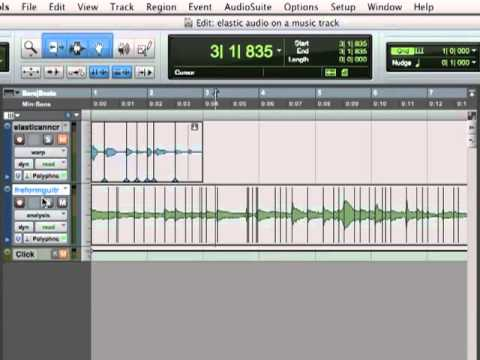 Pro Tools 9 Tutorial -  Elastic Audio On A Music Track