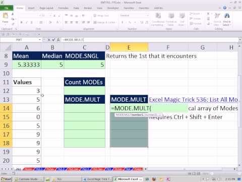 Excel Magic Trick 761: Formula Displaying Multiple Modes & Counting Modes Excel 2010 MODE.MULT