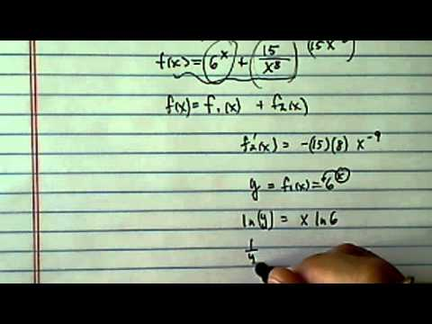 Logarithmic Derivative:  f(x)=6^x + (15/x^8)?