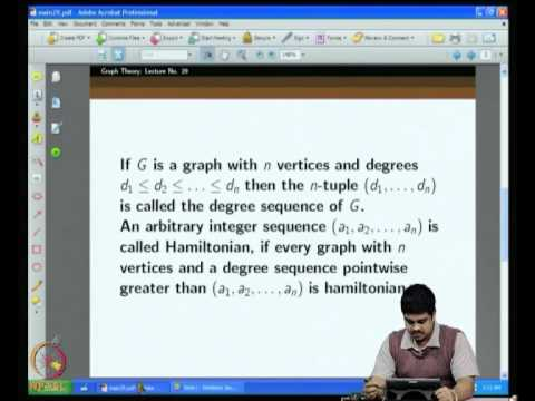 Mod-04 Lec-29 More on Hamiltonicity: Chvatal's theorem