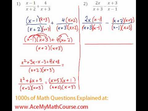 Rationals - Adding Rational Expressions #1-2