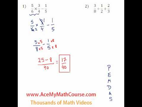 Basic Algebra - Fraction Operations #1-2