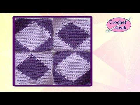 Crochet Geek - Diamond Tapestry Crochet Square - Chart Crochet