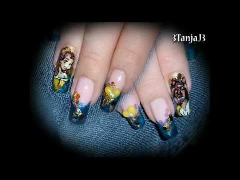 Disney Princess Belle *Beauty & The Beast* Nail Art Design