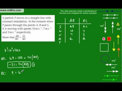 (5) M1 Mechanics Revision Topics - Simultaneous Equation constant acceleration kinematics