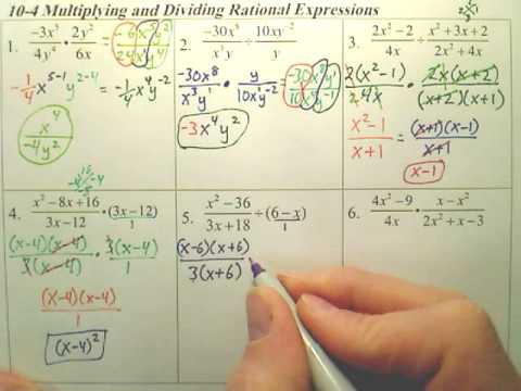 Algebra 1  - 10-4 Muliplying and Dividing Rational Expressions page 2