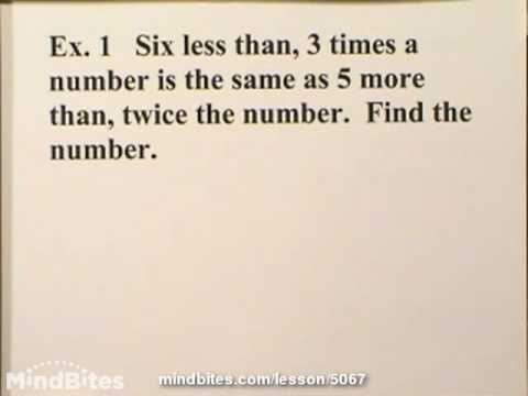 Basic Algebra: Linear Equation Word Problems