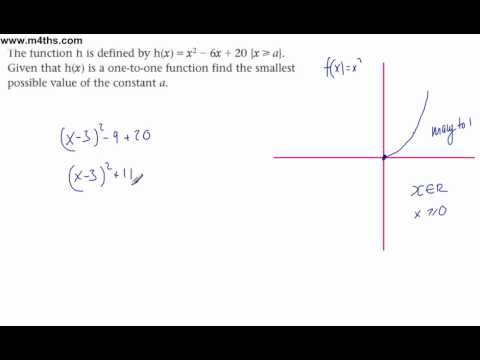 Functions - Core 3 Completing the square to create a 1-2-1 function