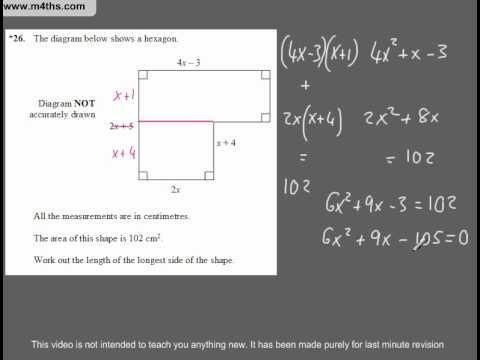 (Q22) A Star GCSE Revision Exam Style Questions applications of algebra