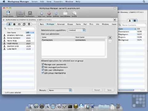 Configuring  Administrators in WorkGroup Manager - 10.6 Server Tutorial