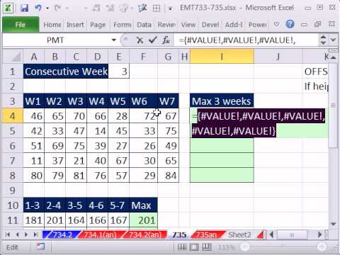 Excel Magic Trick 735: Find Max Running Three Week Totals SUBTOTAL / OFFSET Array Formula