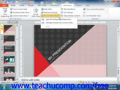 PowerPoint 2010 Tutorial Recording Narration-2010 Only Microsoft Training Lesson 15.2