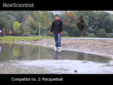 Water-skimming ball leaps from surface