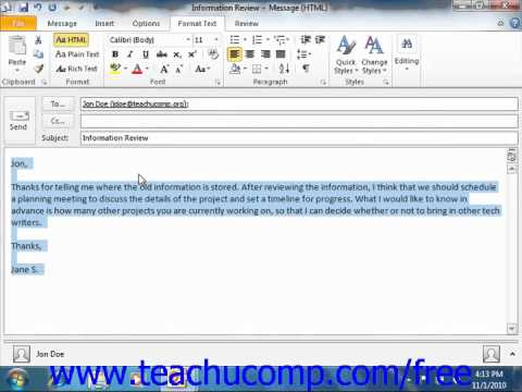 Outlook 2010 Tutorial Formatting Messages Microsoft Training Lesson 3.8