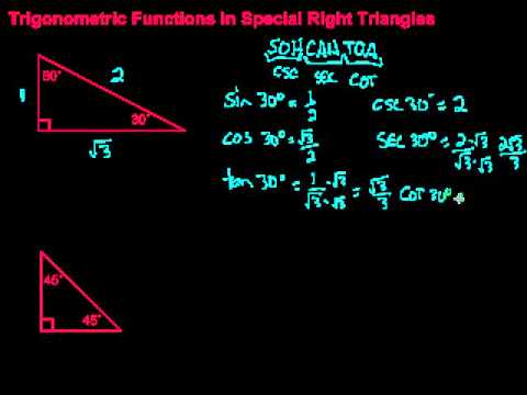 Trigonometric Functions in Special Right Triangles