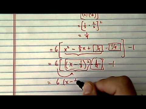 *Vertex & Axis of Symmetry:  y = 6x^2 -4x - 1