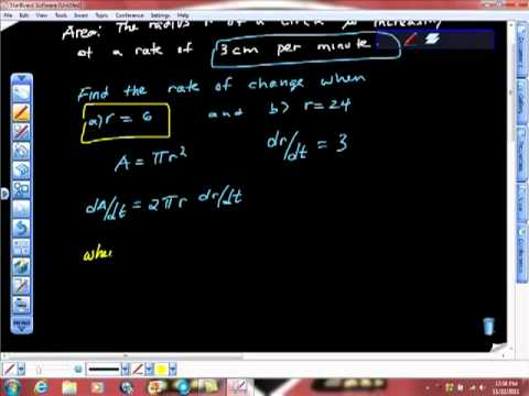 AP Calculus AB Related Rates #15 Radius and Area