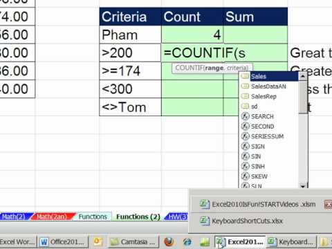 Office 2010 Class #24: Excel Functions COUNTIF & SUMIF Count and Add with one Condition (Criteria)
