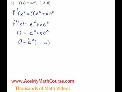 Derivatives - Absolute Maximum & Minimum - Question #4