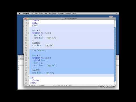 MySQL, PHP: Establishing global and static variable scope | lynda.com