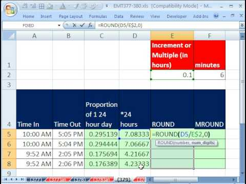 Excel Magic Trick 379: Round to Nearest 1/10th Hour for Payroll