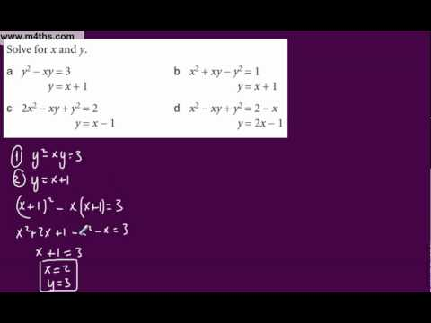 (d) Core 1 Simulatenous Equations (one linear and one non linear or quadratic)