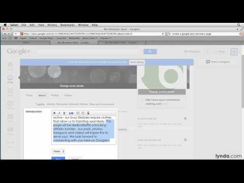 Google+ tutorial: Customizing a Google+ page | lynda.com