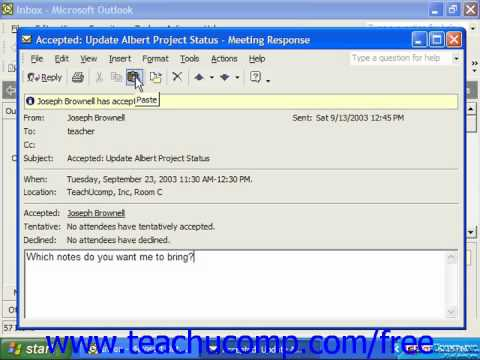 Outlook 2003 Tutorial Screen Tips Microsoft Training Lesson 16.1