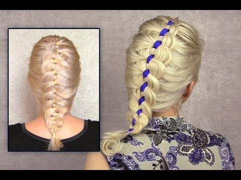 4 strand french braid tutorial on yourself Ribbon braid hairstyle for short medium long hair how to
