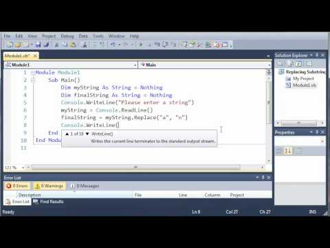 Visual Basic Tutorial - 22 - Replacing SubStrings