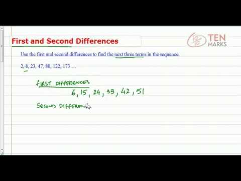 Sequences - First and Second Differences