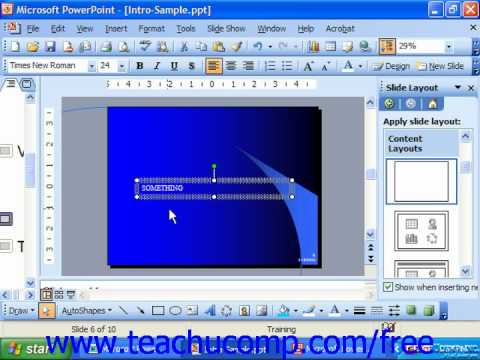 PowerPoint 2003 Tutorial Moving Text Boxes & Placeholders Microsoft Training Lesson 6.6