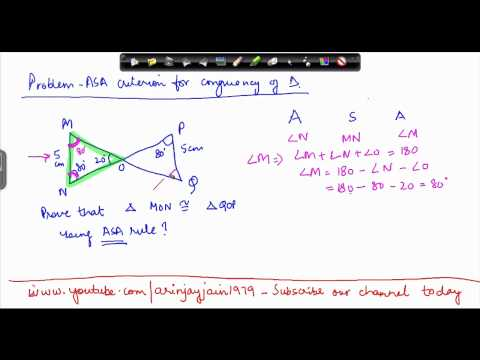 1416. Mathematics Class VII -  Congruency of Triangles - ASA criterion problem