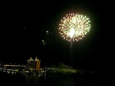 Fireworks along the Savannah River, Georgia