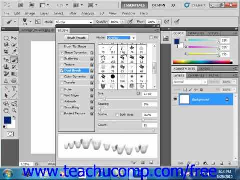 Photoshop CS5 Tutorial Setting Dual Brushes Adobe Training Lesson 6.7