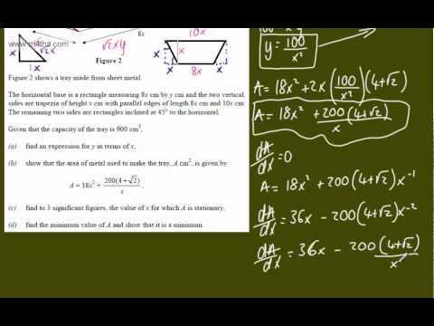 (h) Optimisation Core 2 Example 8 (tough exam question) C2 minimizing calculus