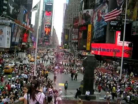 View from Times Square in the late afternoon in the summer, New York City, New York USA