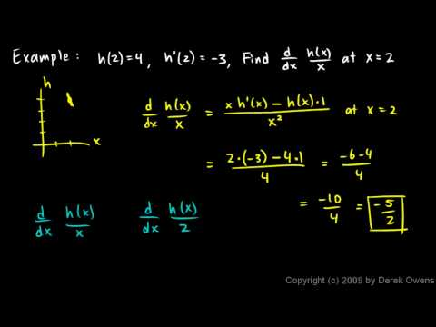 Calculus 3.07x - Quotient Rule Example