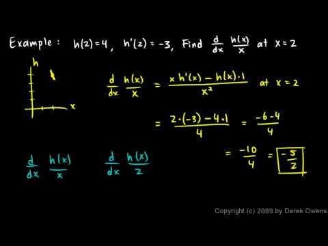 Calculus 3.07x - Quotient Rule Example