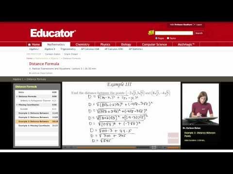 Algebra: Distance Formula