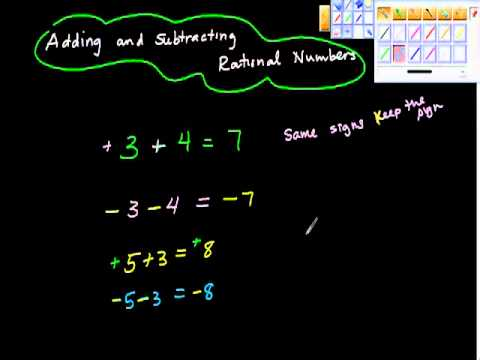 Adding and Subtracting Rational Numbers Algebra