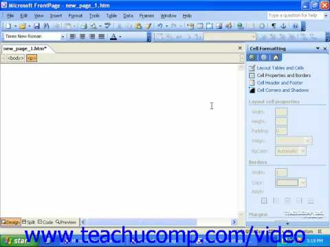 FrontPage Tutorial Using the Task Pane Microsoft Training Lesson 1.6