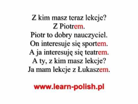 2 Polish grammar. Instrumental case. Singular. Masculine.
