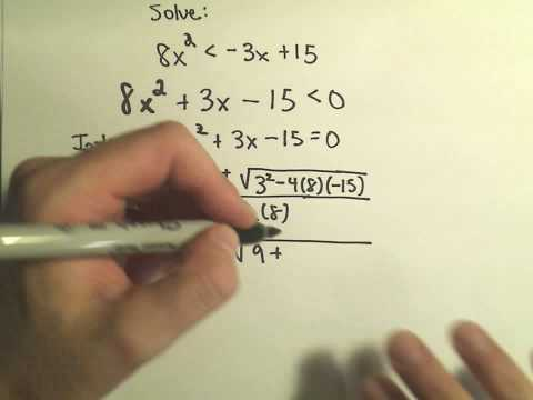 Solving Quadratic Inequalities, More Examples - Example 1