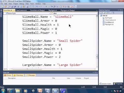 Visual Basic 2010 Express Tutorial 30 - Classes For A Roll Playing Game Simulation