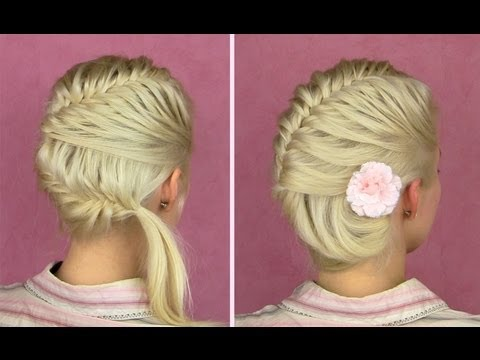 French fishtail braid tutorial for short and long hair Side bun updo hairstyles how to