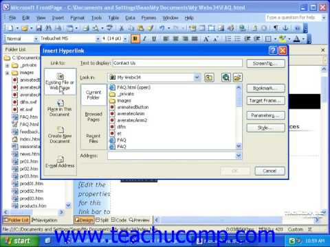 FrontPage Tutorial Creating Email Hyperlinks Microsoft Training Lesson 7.2