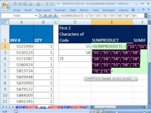 Excel Magic Trick 416: Add Invoices w Same Prefix (Number v Text problem examined)