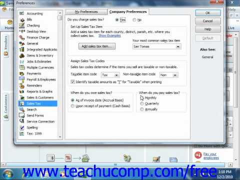 QuickBooks 2011 Tutorial Setting Sales Tax Preferences Intuit Training Lesson 4.5